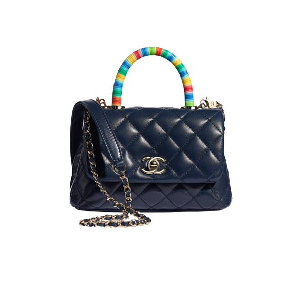 Chanel Mini Flap Bag With Top Handle Blue