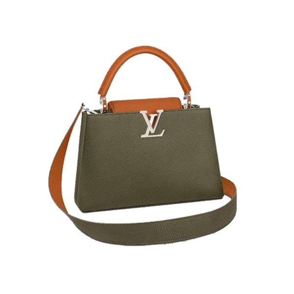 Louis Vuitton Capucines Bag Khaki Gold Coquille