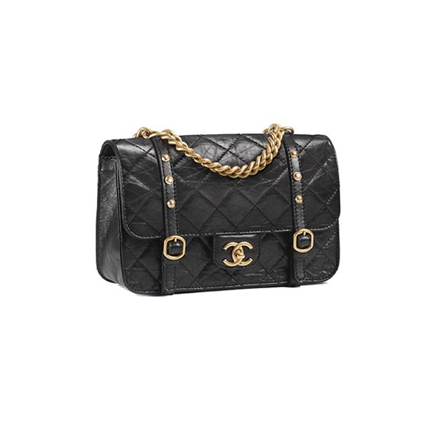 Chanel Flap Bag Aged Calfskin & Gold Tone Metal Black