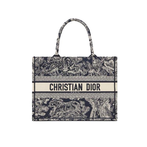 Dior Book Tote Bag Blue Toile De Jouy Embroidery
