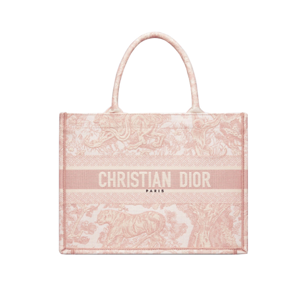 Dior Book Tote Bag Pink Toile De Jouy Embroidery