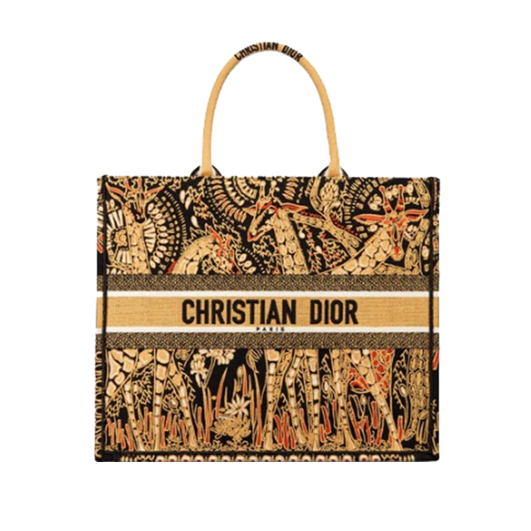 Dior Book Tote Bag Yellow Black Animals Embroidery
