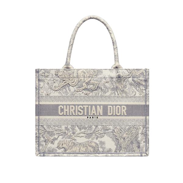Dior Book Tote Bag Gray Toile De Jouy Embroidery