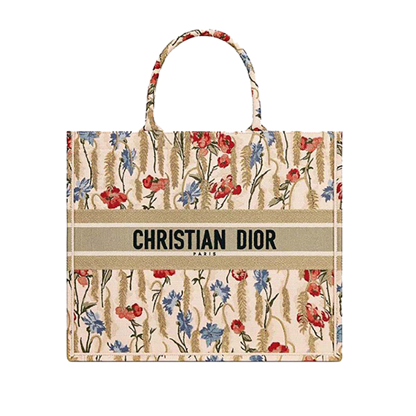 Dior Book Tote bag Beige Hibiscus Embroidery