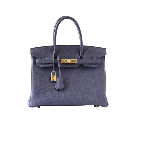 Hermes Birkin 30 Bag Blue Nuit Gold Hardware Togo